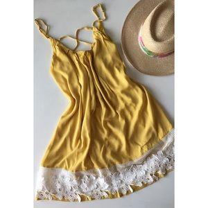 ENTRO Yellow white sleeveless sundress Size Medium
